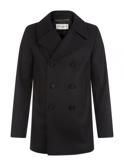 Black cashmere wool men's peacoat Retail price €1790 Size 50