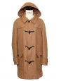 Tan brown wool hooded duffle coat Retail price €400 Size 40