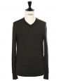 Dark khaki green wool V neckline men's sweater Retail price €140 Size M