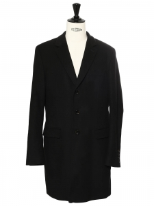 Men's black cashmere and wool long coat Retail price €450 Size 52