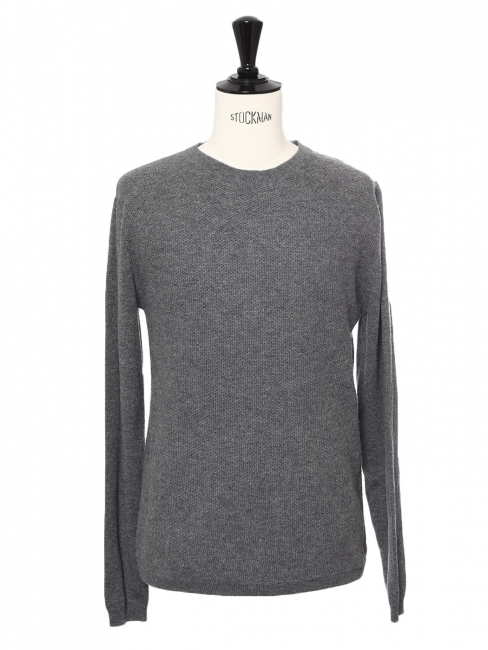 Grey cashmere wool round neck men's sweater Retail price €405 Size M