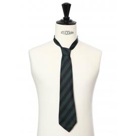 Dark green and navy blue striped silk tie
