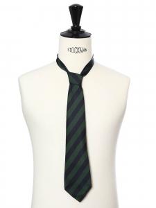 Cravate en soie bleu marine et vert foncé