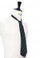 Dark green and navy blue silk tie
