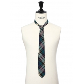 Navy blue, green and light yellow plaid print tie