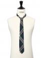 Cravate en laine motif écossais bleu, vert et jaune clair