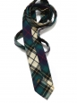 Navy blue, green and light yellow tie