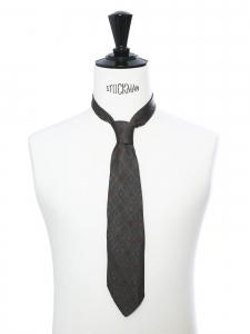 Cravate en soie vert kaki imprimé rouge et bleu