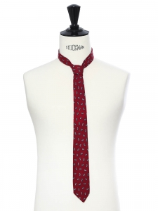 Burgundy red graphic print thin tie