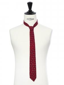 Cravate fine en laine rouge bordeaux imprimé jaune pâle