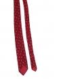 Burgundy red graphic print thin tie