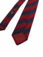 Navy blue and red striped silk tie