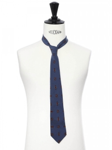 Cravate en soie fine bleu imprimé rouge et bleu clair
