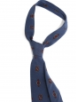 Thin blue and red print silk tie