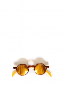 YOGA Brown tortoiseshell and yellow sunglasses with gold mirror lens Retail price €350 NEW