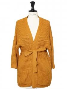 Gilet kimono ceinturé en coton et laine jaune moutarde Taille 36