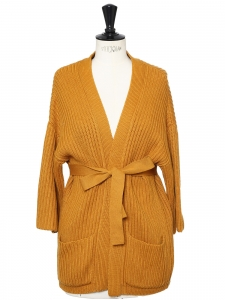 Mustard yellow cotton and wool knitted cardigan Retail price €380 Size 36