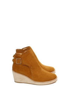 VIRGINIE Tan brown suede leather wedge boots with shearling Retail price €385 Size 39
