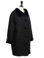 Black wool tweed and faux fur coat NEW Size 38