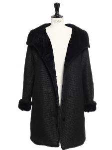 Manteau en laine vierge mélangée et fausse fourrure noire NEUF Taille 38