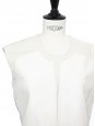 Ecru white calf hair and woven sleeveless top Retail price $770 Size S