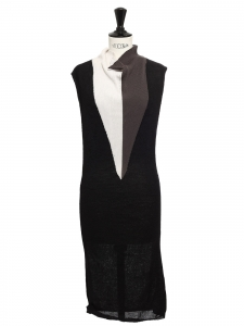 Mid-length sleeveless black and grey angora and wool knitted dress Retail price €450 Size S