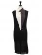 Robe mi-longue sans manche en alpaga et laine noire, gris et blanc Prix boutique 450€ Taille 36