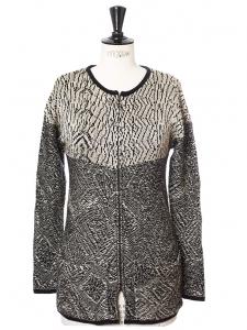 Gilet à fermeture éclair en laine vierge mélangée noir et beige irisé Px boutique 200€ Taille 36/38