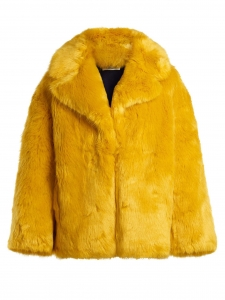 Bright yellow faux fur coat Retail price €645 Size L