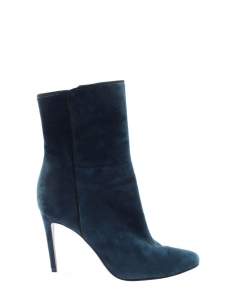 Bottines à talon fin bout pointu en suede bleu canard Prix boutique 950€ Taille 39,5