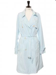 Trench mi-long léger en coton bleu clair Prix boutique 530€ Taille 42
