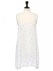 Pink and light blue floral print thin strap night dress Size 36
