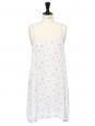 Robe nuisette à fines bretelles en soie bleu clair fleuri rose Taille 36