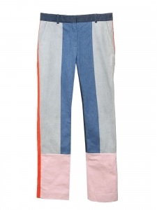 Tonal-Blue, red and pale rose colorblock denim pants Retail price $875 Size 38