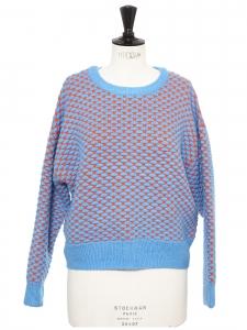 Pull col rond en grosse maille de laine bleu cyan et orange Taille 36