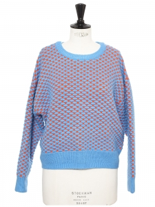 Round neckline cyan blue and orange wool sweater Size 36