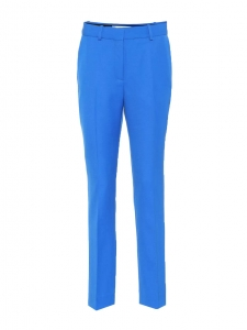 Lapis blue wool crepe straight leg pants Retail price €480 Size 38