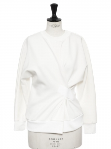 White neoprene crew neck cinched sweater with velcro Retail price €400 Size 36