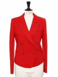Rubis red wool double breasted jacket Retail price €1150 Size 38