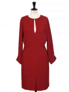 Carmin red light long sleeves Keyhole-front belted dress Retail price €695 Size 36