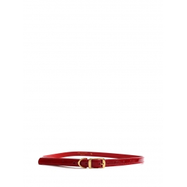 Red faux leather thin belt with gold buckle Retail price €140 Size 75