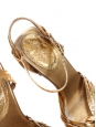 Gold python leather T-bar wooden heel sandals Retail price €650 Size 36