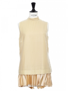 Beige velvet and pleated silk velvet sleeveless mini dress Retail price €1100 Size 36