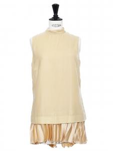 Beige velvet and pleated silk velvet sleeveless mini dress Retail price €1100 Size 36