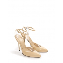 Beige patent leather pointy toe pumps with ankle strap NEW Retail price €690 Size 37.5