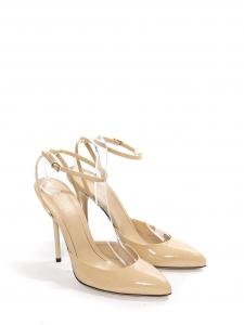 Sandales escarpins bout pointu à talon et bride cheville en cuir verni beige NEUVES Px boutique 690€ Taille 37.5