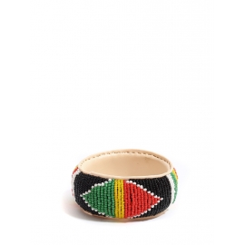 Leather African bracelet embellished with bright red, green, yellow and black beads Size M