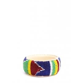 Bracelet africain large en cuir brodé de perles rouge, vert, jaune, blanc et bleu Taille M