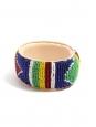 Bracelet africain large en cuir beige rosé et perles rose nacré et vert d'eau NEUF