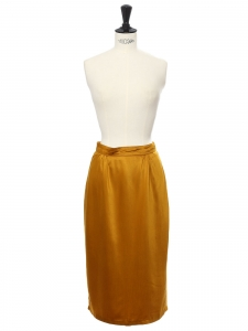 Bronze gold yellow satin fluid high waist midi skirt Size XS